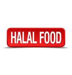 Halal food red 3d square button on white vector