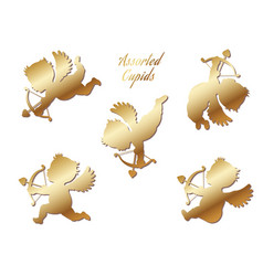 a set of gold cupids vector image
