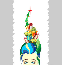 Christmas tree woman girl hairstyle gifts vector