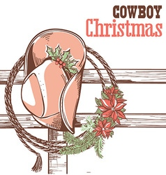 Cowboy christmas card with text vector