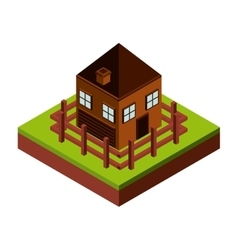 Fence and house icon isometric design vector
