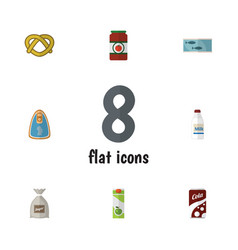 Flat icon food set of canned chicken tin tuna vector