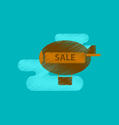 Flat shading style icon air balloon sale vector