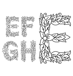 Floral capital letters e f g and h vector