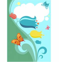 Flower and butterflies vector