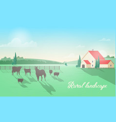 gorgeous rural landscape with domestic animals vector image