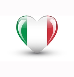 Heart-shaped icon with national flag of Italy vector image