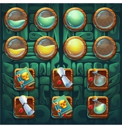 Jungle shamans GUI icons buttons kit vector image