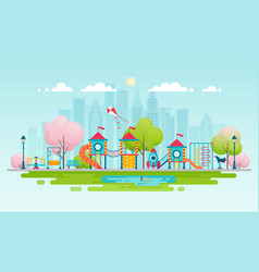 kids playground with playing equipment vector image vector image