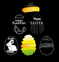 Label elements easter phrases vector