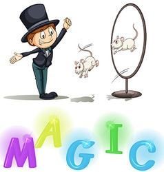 Magician showing his tricks vector image vector image