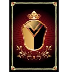 Medieval heraldic shield ornate golden ornament vector image