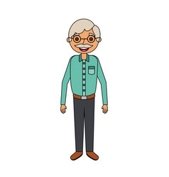Old man portrait of a pensioner grandfather vector
