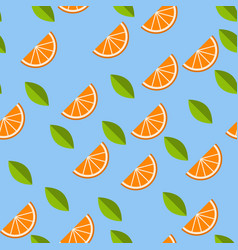 orange lemon on blue background seamless pattern vector image