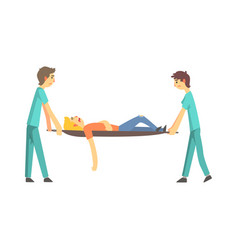 Paramedic giving help to an injured person after vector