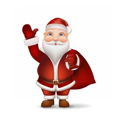 Santa with a bag behind the back vector image
