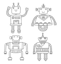 set of different cute robots vector image vector image