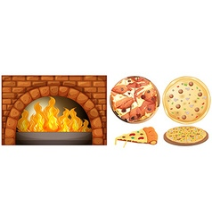 Set of pizza and stone oven vector image