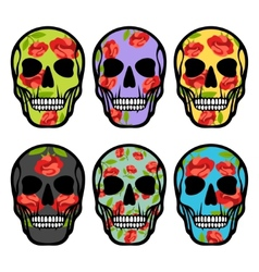 Set of skulls with flowers vector image