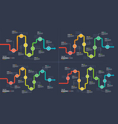 Seven-ten steps timeline or milestone infographic vector