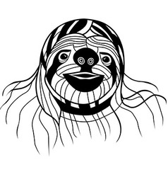 Sloth head animal for t-shirt sketch tattoo design vector