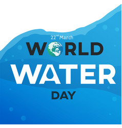 World water day text background greeting card or vector