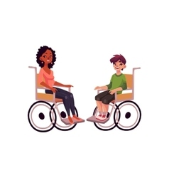 Young black woman and teenaged white boy in vector