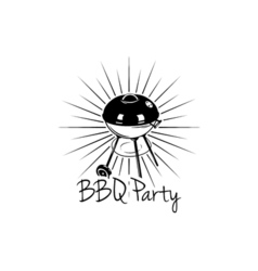 Bbq party banner grill badge isolated on white vector