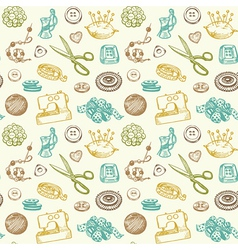 Sewing and needlework seamless pattern vector