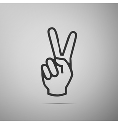 Victory hand sign icon hand showing two finger vector