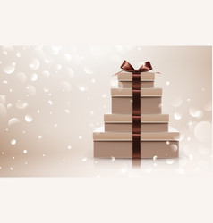 gift collection with brown bow vector image