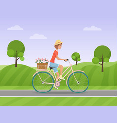 Cheerful woman with flowers in the basket riding a vector