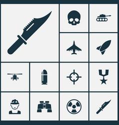 combat icons set collection of glass slug vector image