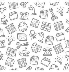 Seamless pattern of office work supplies vector