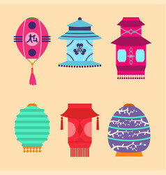 Chinese lantern collection set paper vector