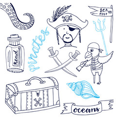 Pirate set with cute parrot hand drawn cartoon vector