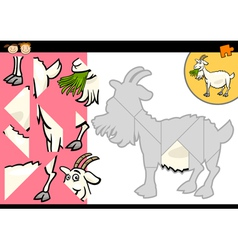 Cartoon farm goat puzzle game vector