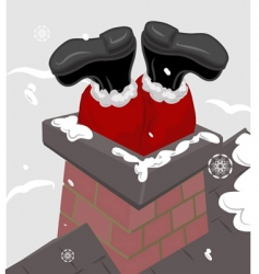 Santa chimney illustration vector