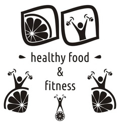 Healthy food and fitness symbols vector