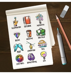 Notebook with creative process sketches vector