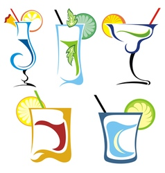 Alcohol drinks and cocktails icon set vector