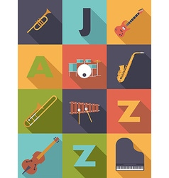 Jazz music poster flat design vector