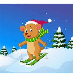 Cartoon bear skiing down a mountain slope vector