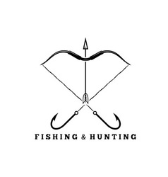 Fishing and hunting concept with hooks and bow vector