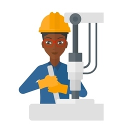 Worker working with industrial equipment vector