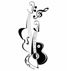 Musical instruments tattoo vector