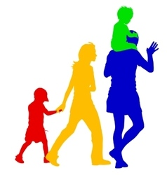 Silhouettes family on white background vector