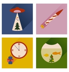 Set of flat icons with long shadow christmas vector