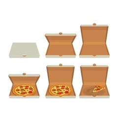 Whole pizza and slices of pizza in closed and open vector