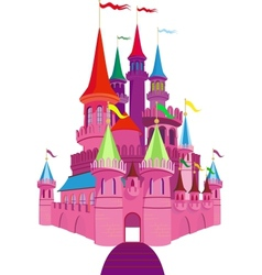 Fairy-tale pink castle vector
